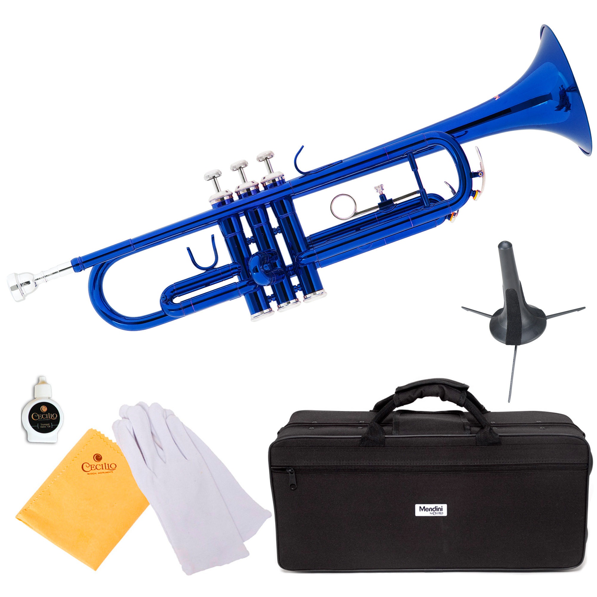 Mendini by Cecilio MTT-BL Blue Lacquer Brass Bb Trumpet with Trumpet Stand and Durable Deluxe Case