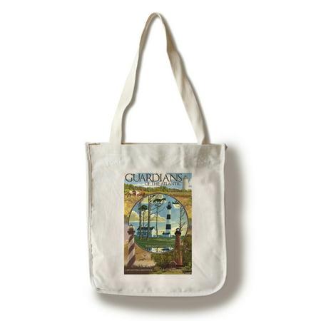 Outer Banks  North Carolina   Guardians Of The Atlantic Lighthouses   Lantern Press Artwork  100  Cotton Tote Bag   Reusable