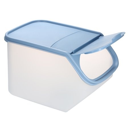 5L Plastic Food Storage Bin Rice Fruit Vegetables Cornmeal Snacks Container Holder with Flip-Top Lid with Measurement Cup--Blue