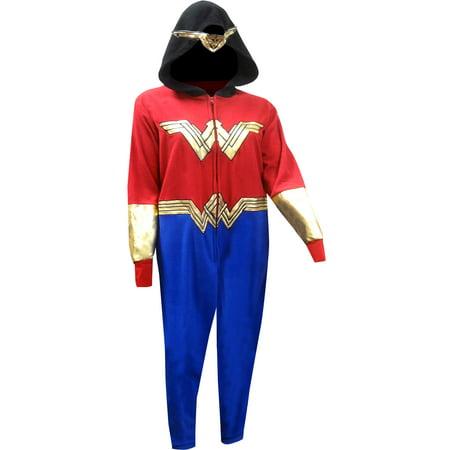 Wonder Woman Golden Accent Onesie Pajama With Drop Seat (Wonder Woman Onsie)