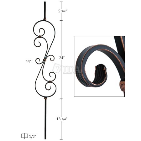Oil Rubbed Copper Iron Balusters Spindles Metal Stair Parts Basket Twist Scroll