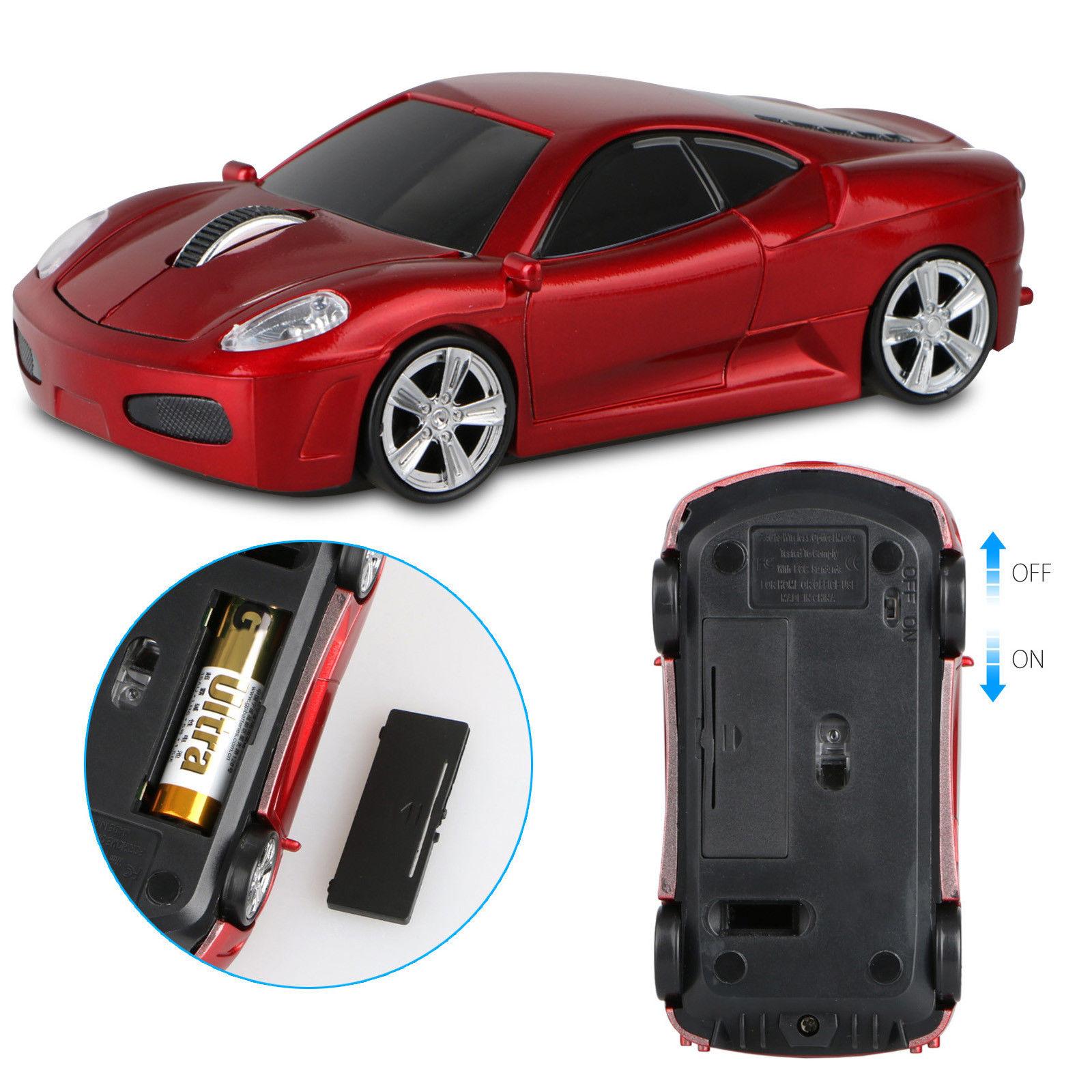 2.4GHz Wireless Sports Car Optical Mouse, 1600DPI Game Gaming Mice with Mini Receiver, for Windows 98 / ME / NT / 2000 / XP / Vista / Win 7/8/10 / Linux or Mac OS