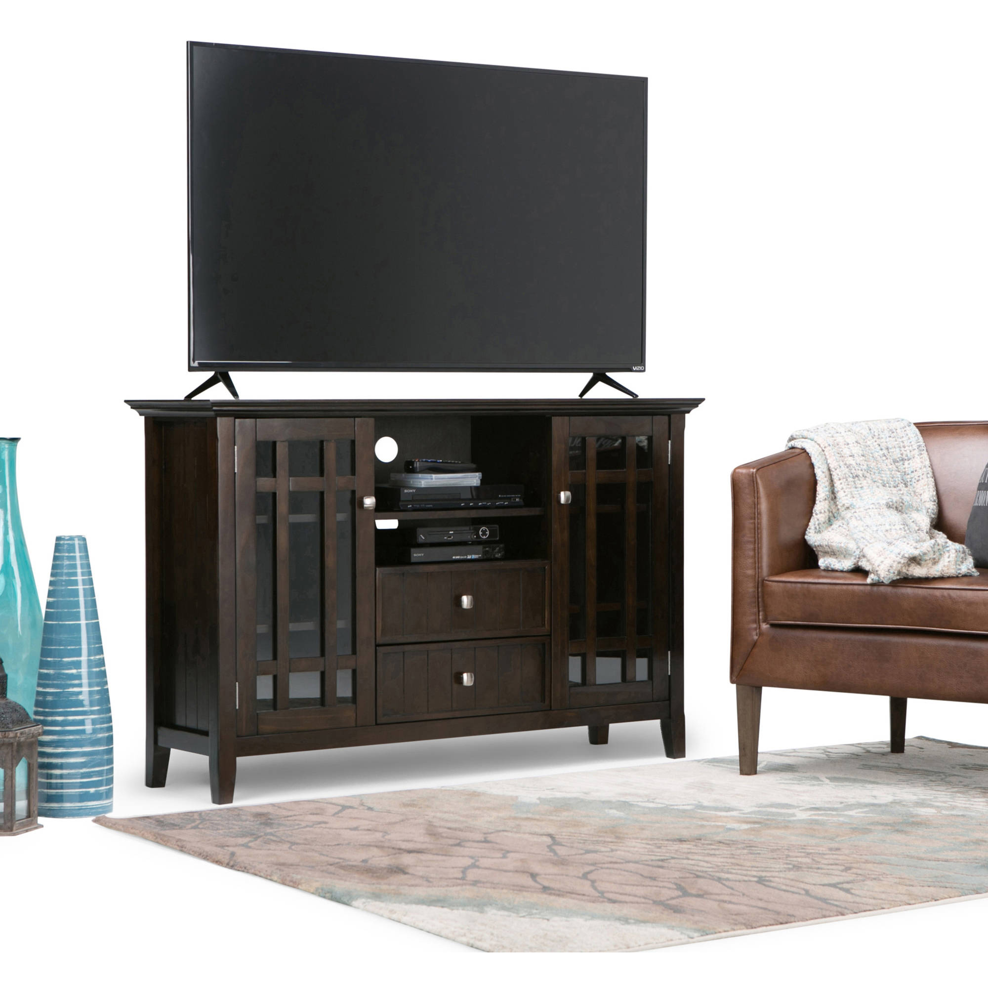 "Brooklyn + Max Hampton Collection Dark Tobacco Brown 54"" Wide TV Media Stand for TVs up to 60"""
