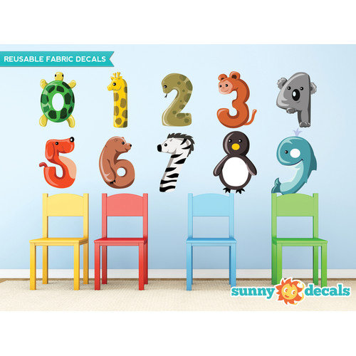 Sunny Decals Colorful Animal Number from 0 to 9 Fabric Wall Decal
