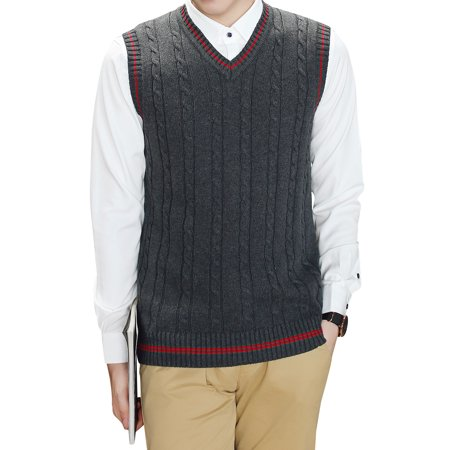 Cable Knit Wool Vest - TopTie Men's V-Neck Cotton Cable Knit Sweater Vest Slim Fit Casual Waistcoat-Charcoal-XL