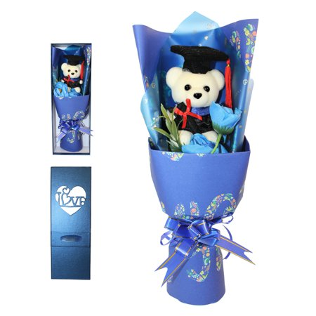 Graduation Bear and Artificial Flower Bouquet in Gift Box
