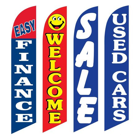 4 Advertising Swooper Flags Easy Finance Welcome Sale Used Cars