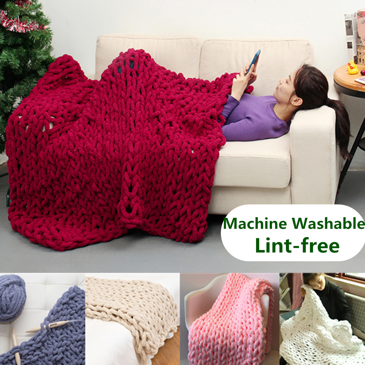 Hand-woven Soft Chunky Knitted Blanket Bulky Thick Yarn Bed Sofa Throw - Washable and Lint-free