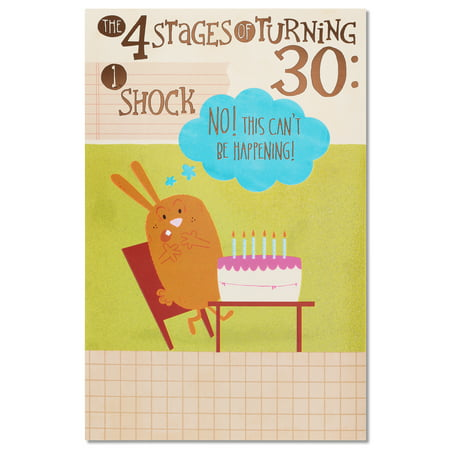 American Greetings Funny Four Stages 30th Birthday Card With Glitter