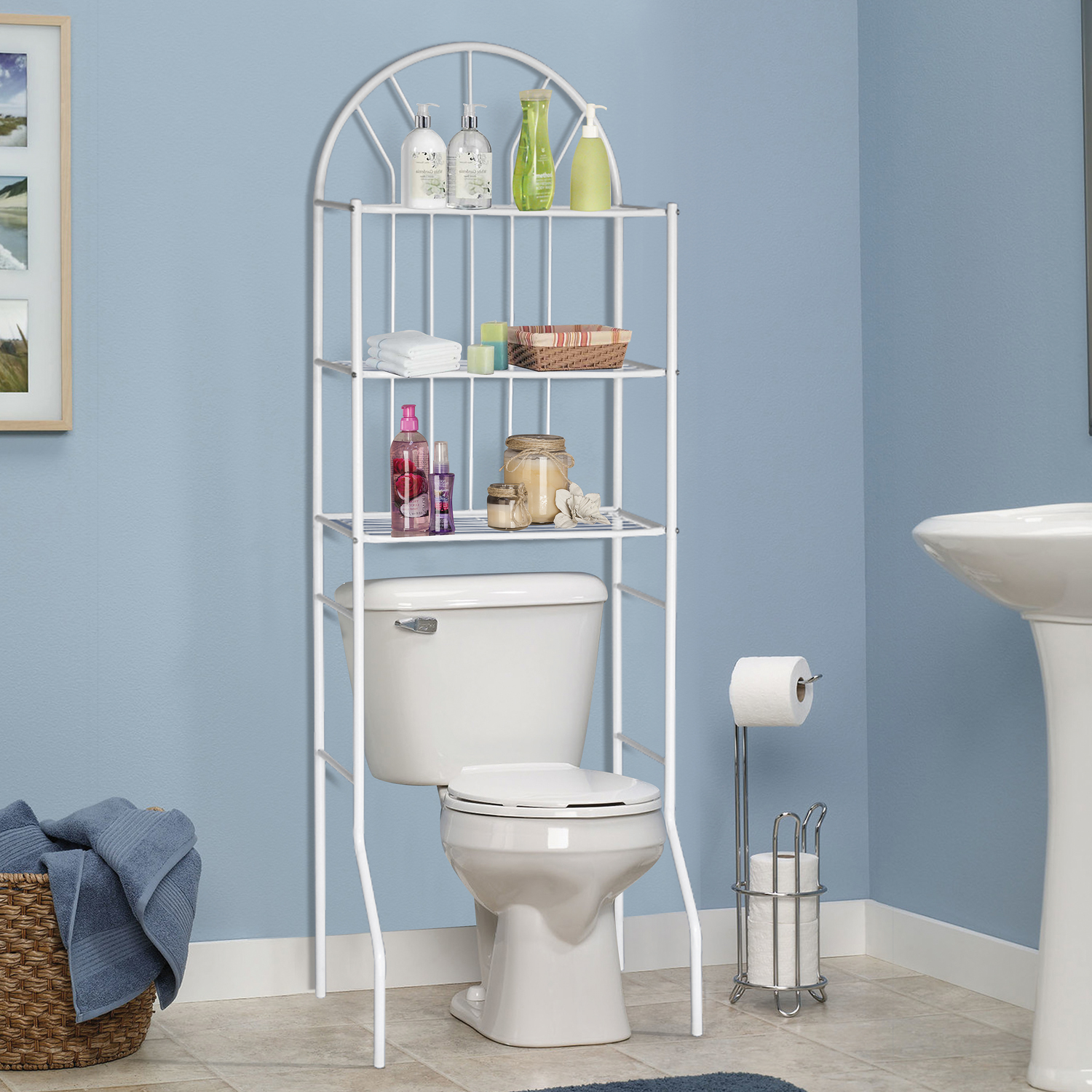 Home Source 3 Shelf Bathroom Rack in White - Walmart.com