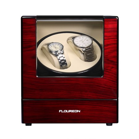 FLOUREON Watch Winder, Luxury Wood Rotation Motor Automatic 2+0 Watch Winder Box Display Double Watch Gift Storage Case