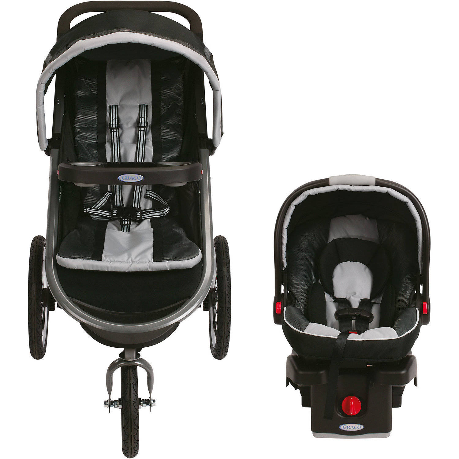Fast Action Three Wheel Fold Jogger Click Connect Stroller Gotham Finish Black