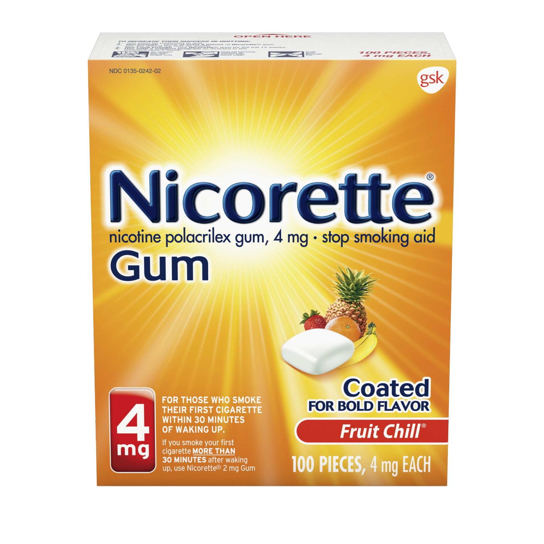 Nicorette Nicotine Gum, Stop Smoking Aid, 4 mg, Fruit Chill Flavor, 100 count