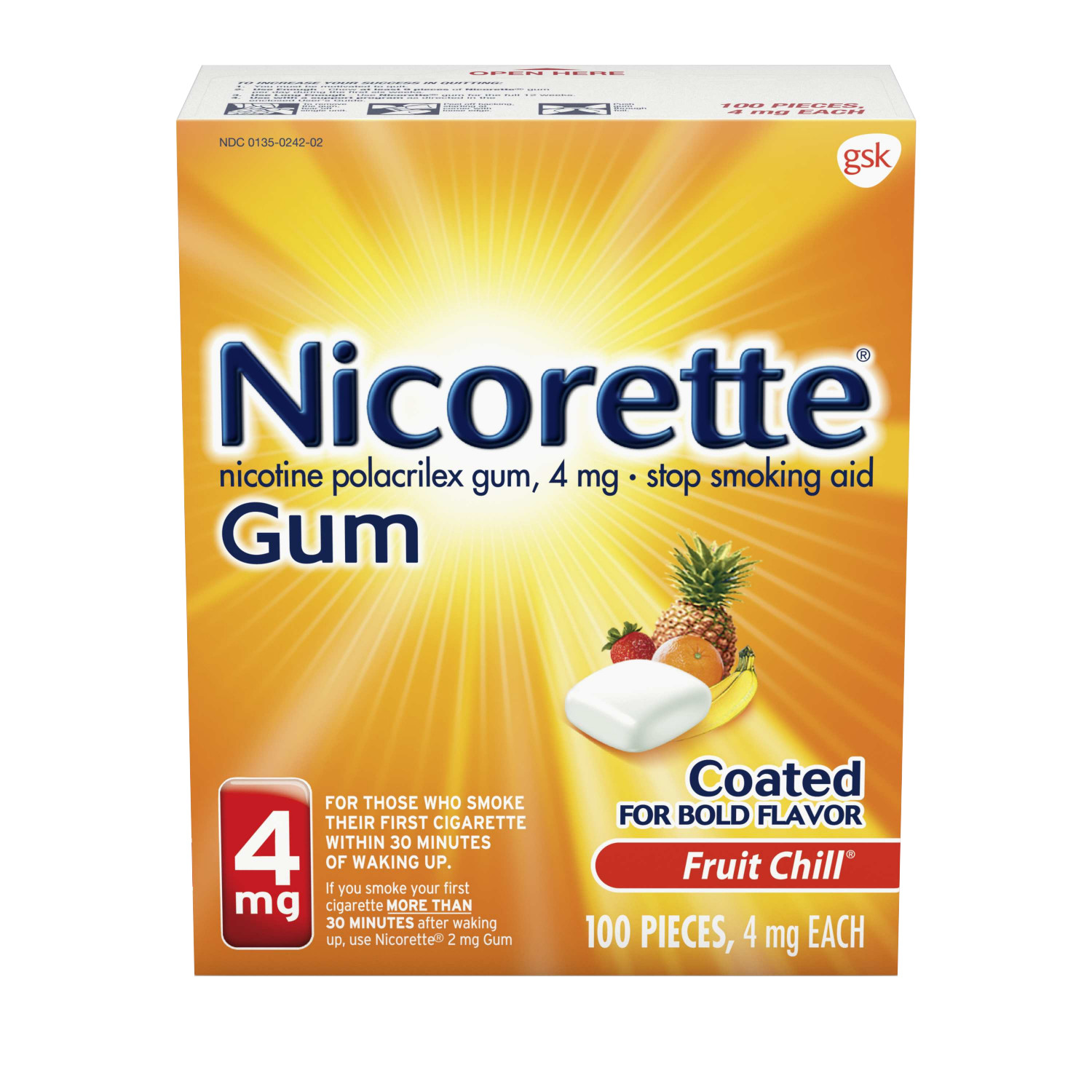 Nicorette Nicotine Gum, Stop Smoking Aid, 4 mg, Fruit Chill Flavor, 100 count