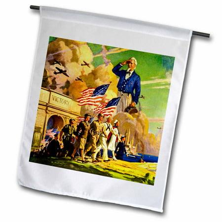 3dRose Patriotic American World War II Vintage 1940s Uncle Sam Armed Forces - Garden Flag, 12 by 18-inch Uncle Sam Flag