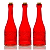 BULK PACK (3) Stella Red Vintage Glass Bottle Wedding Flower Vase