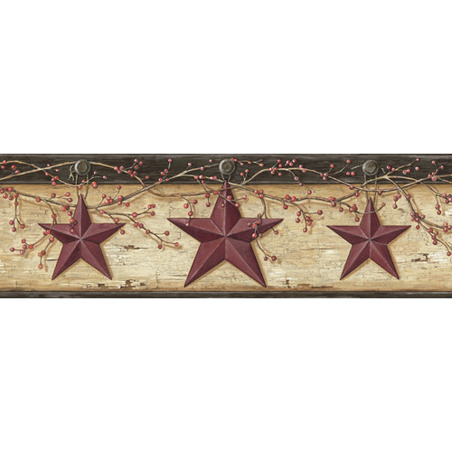 Brewster Home Fashions Borders by Chesapeake Graham Rustic Star Trail 15' x 6'' 3D Embossed Border Wallpaper