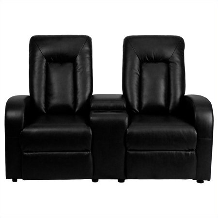 Flash Furniture Leather 2-Seat Home Theater Recliner with Storage Console, Multiple (Home Theater Furniture)