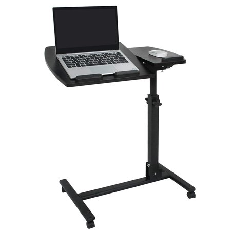 Zeny Rolling Laptop Desk Table Angle & Height Adjustable Laptop Stand Cart Computer Desk Delux Mobile Lap Desk Workstation Notebook Cart Over Bed Table for Home Office w/Lockable Casters