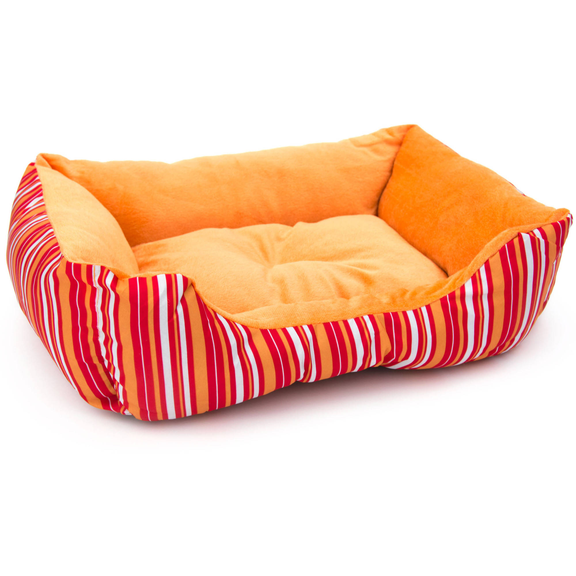ALEKO Soft Plush Pet Cushion Crate Bed for Cats and Dogs, Small, Orange Stripes
