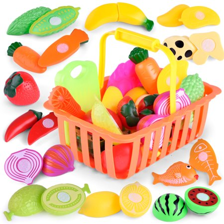 (Justdolife Food Toy Set Realistic Fruits Vegetables Plastic Cutting Toys Kitchen Play Food Accessories Tools Educational Toys for Kids Boys Girls)