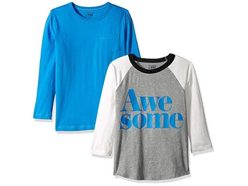 // J Crew Brand LOOK by crewcuts Boys 2-Pack Print//Solid Short Sleeve T-Shirt