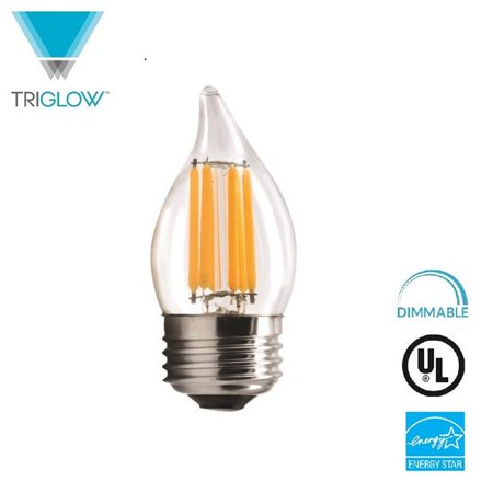 TriGlow T98883 LED 5 - 60 watt Equivalent Dimmable 2700K Warm White E26 Medium Base, Clear Flame Tip Filament Bulb, UL Listed & Energy Star Certified - image 1 of 1