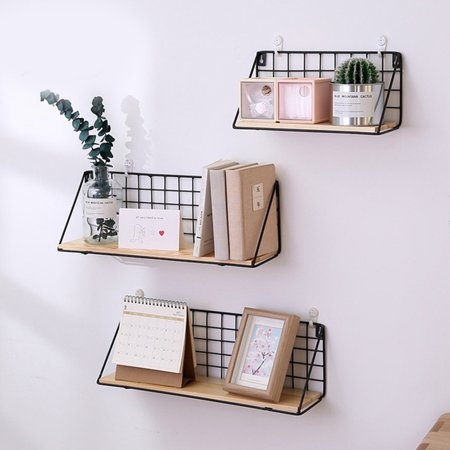 Wall Shelf Geometric Iron & Wooden Craft Wall Rack Storage Living Room Home Decor(Only Wall -