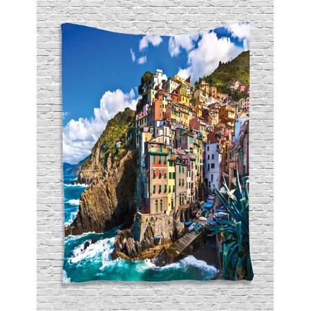 European Tapestry, Italian Mediterranean House by Cliffs Dramatic Weather Sea Cinque Terre Print, Wall Hanging for Bedroom Living Room Dorm Decor, Multicolor, by