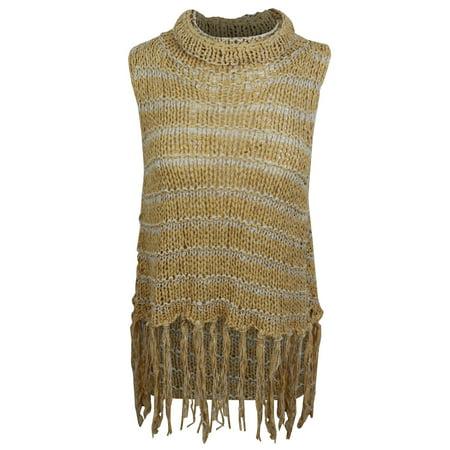 24fc60bfdf1ca Free People Women s Brown Striped Sleeveless Turtleneck Fringed Hi ...