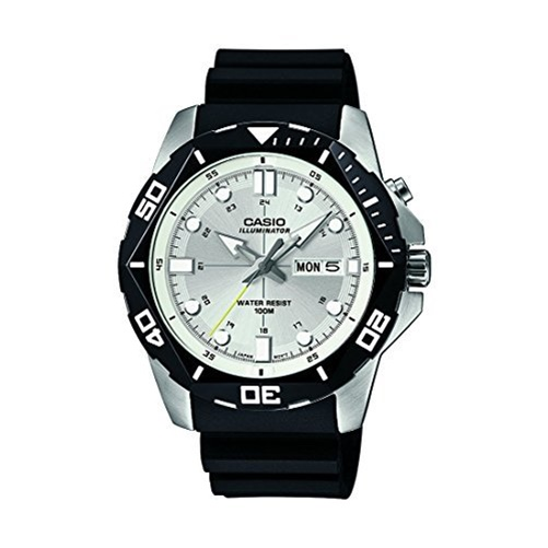 Men's Dive Style Watch, Black Resin Strap