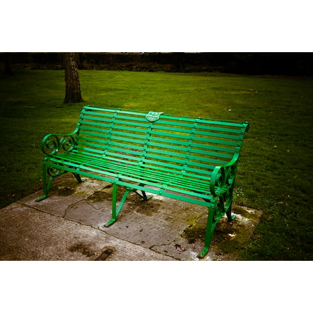 Laminated Poster Metal Outdoor Bench Green Seat Park Nature Print 24 X 36