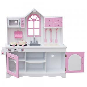 Kids Kitchen Toy Cooking Pretend Play Set Toddler Wooden Playset with  Kitchenware Christmas Gift for Children Gifts for Girls Pink