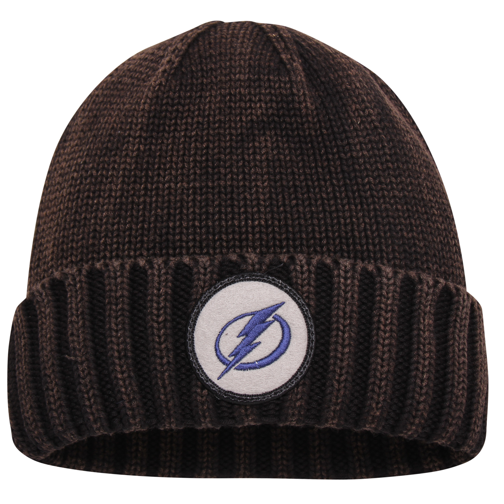 Tampa Bay Lightning Mitchell & Ness Current Logo Ribbed Cuffed Knit Hat - Brown - OSFA
