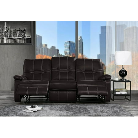 Modern Upholstered Leather Recliner Sofa, 83\