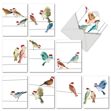 m3318xsg holiday high wire birds' 10 assorted merry christmas greeting cards with envelopes by the best card company ()