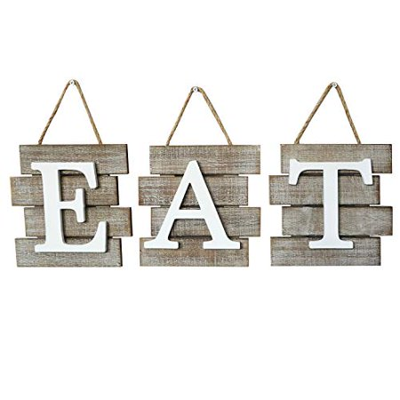 Barnyard Designs Eat Sign Wall Decor for Kitchen and Home, Distressed Natural, Rustic Farmhouse Country Decorative Wall Art 24