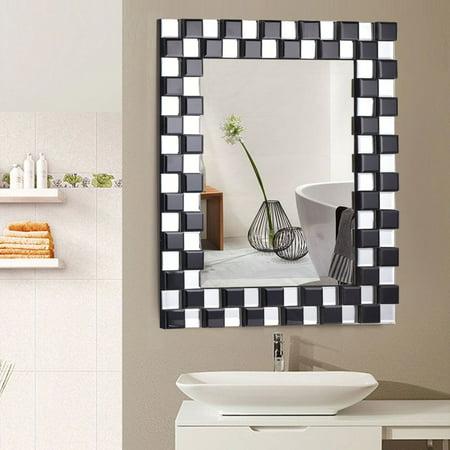 Costway 23.5'' x 31.5'' Rectangular Wall-Mounted Wooden Frame Vanity Mirror Glass Bathroom ()