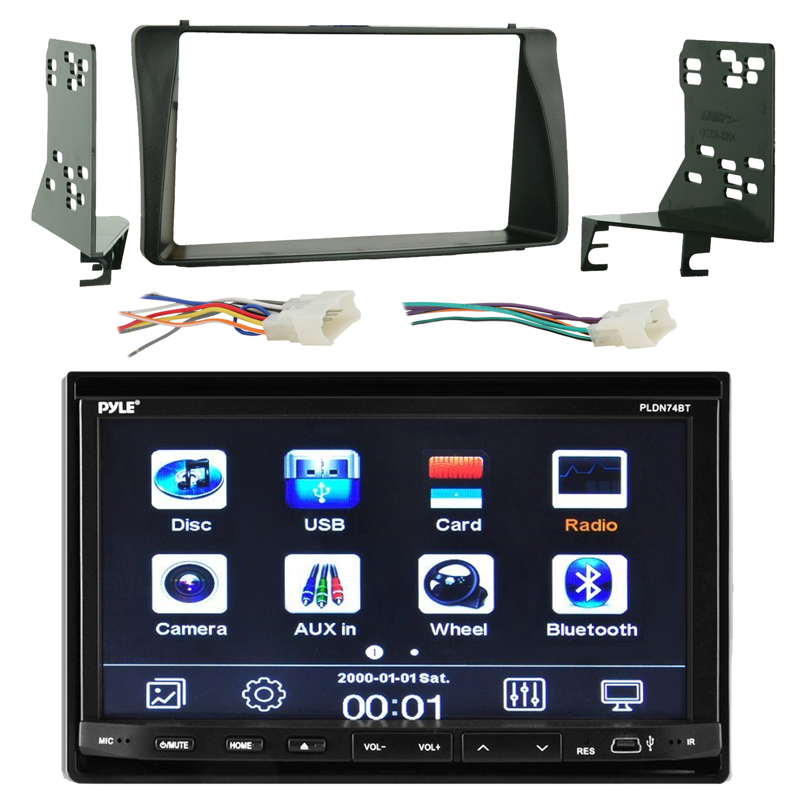 pyle pldn74bt 7 touch screen bluetooth cd dvd player stereo rh walmart com Pioneer Double Din Wiring-Diagram Pyle Waterproof Speaker Wiring Diagram