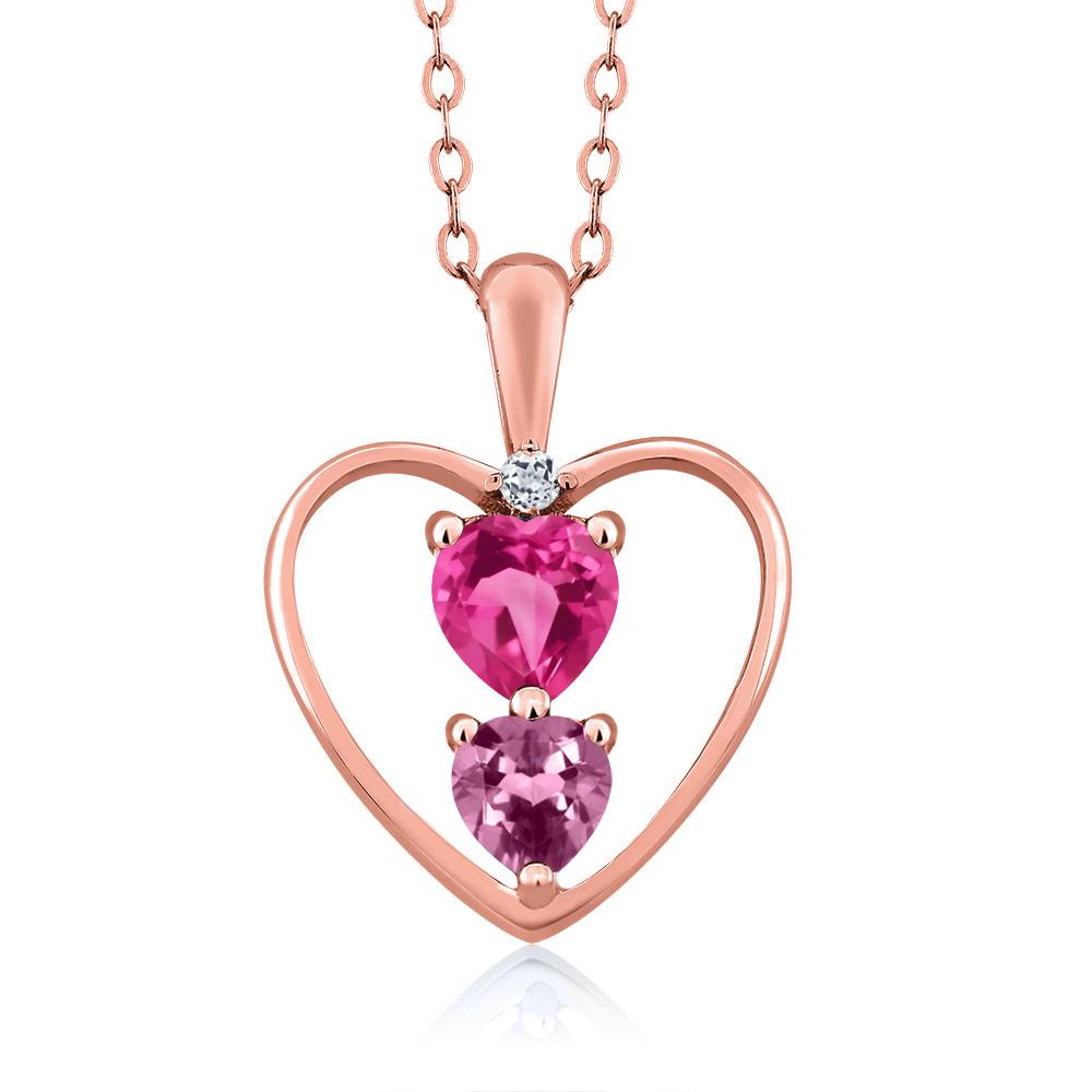 0.82 Ct Heart Shape Pink Mystic Topaz Pink Tourmaline 18K Rose Gold Pendant by