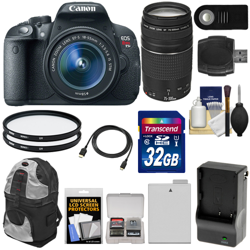 Canon EOS Rebel T5i Digital SLR Camera & EF-S 18-55mm IS STM Lens with EF 75-300mm III Lens   32GB Card   Battery & Charger   Backpack   Filters Kit
