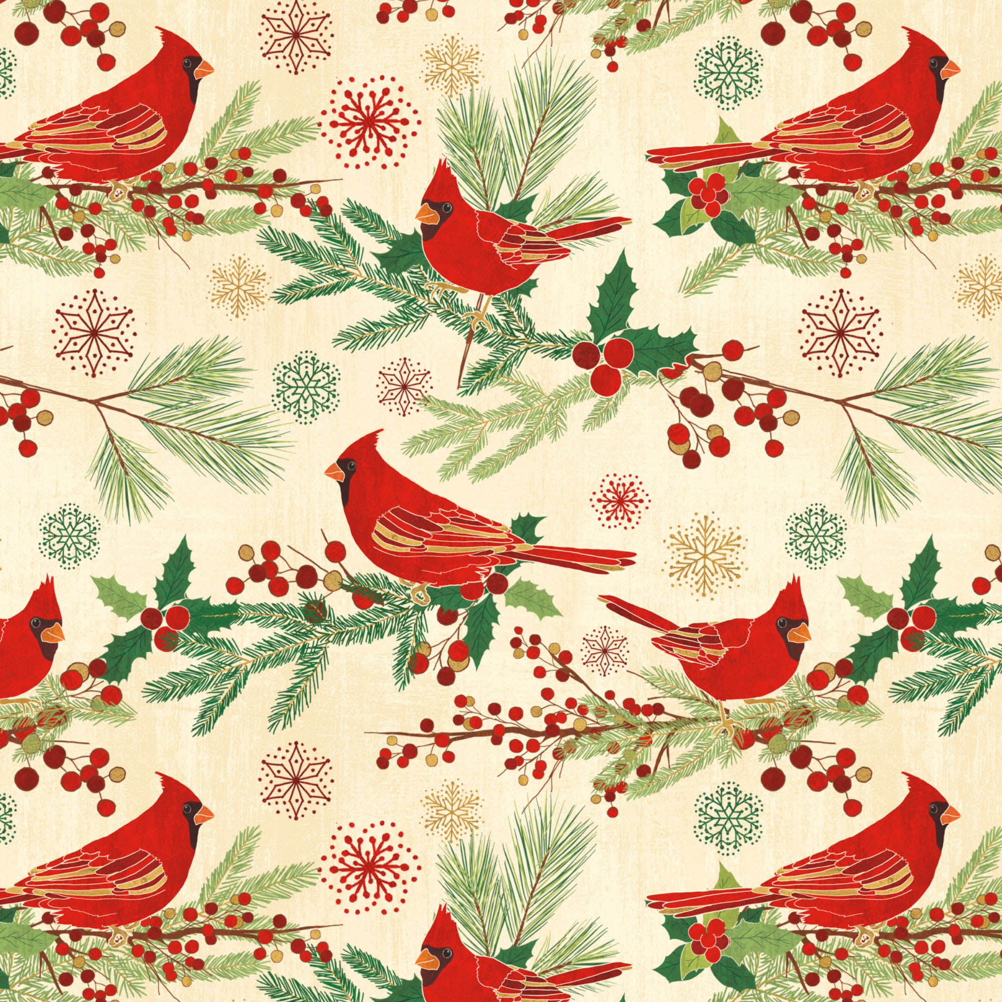 """DAVID TEXTILES, INC. CHRISTMAS CARDINALS COTTON FABRIC BY THE YARD 44"""" WIDE"""