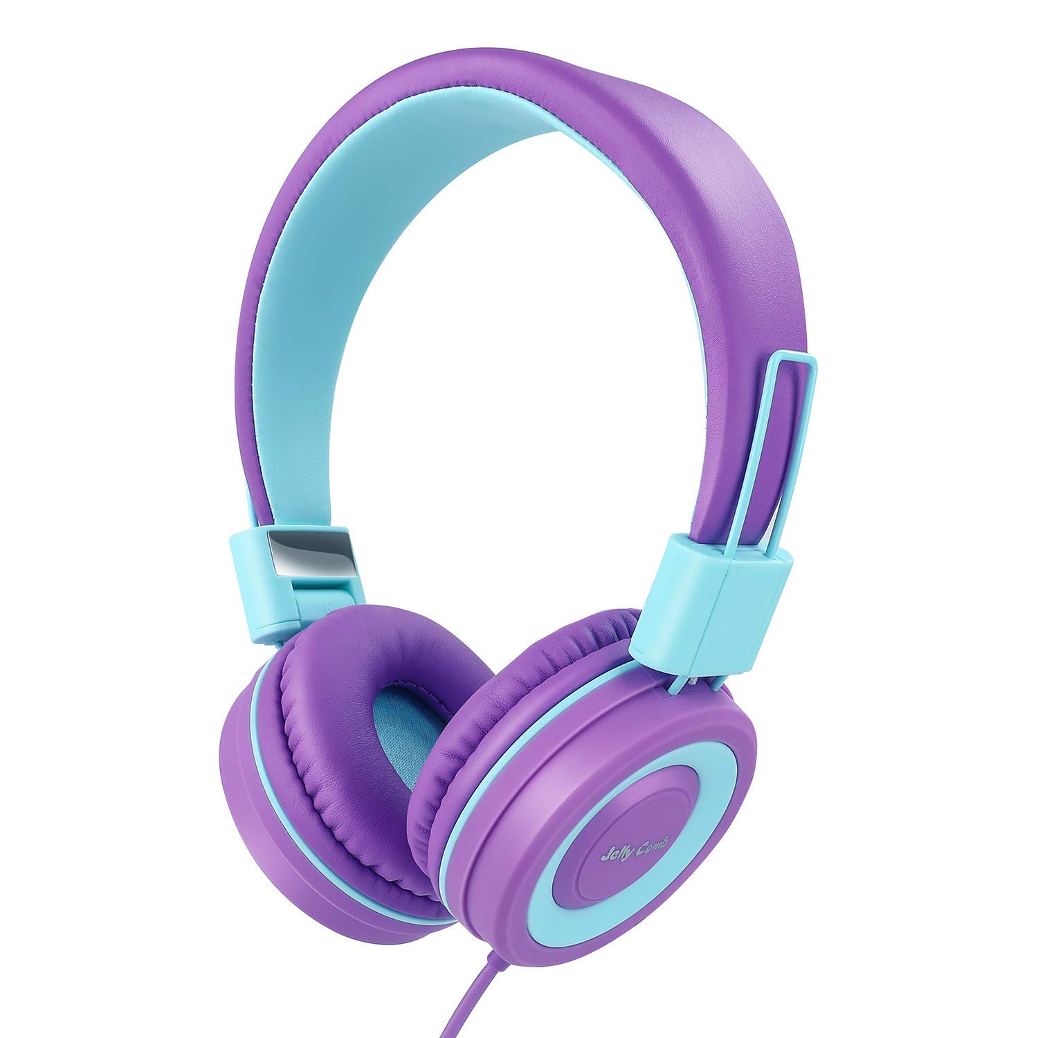On Ear Headphones with Mic, Jelly Comb Foldable Corded Headphones Wired Headsets with Microphone, Volume Control for Cell Phone, Tablet, PC, Laptop, MP3/4, Video Game ( Purple & Blue )