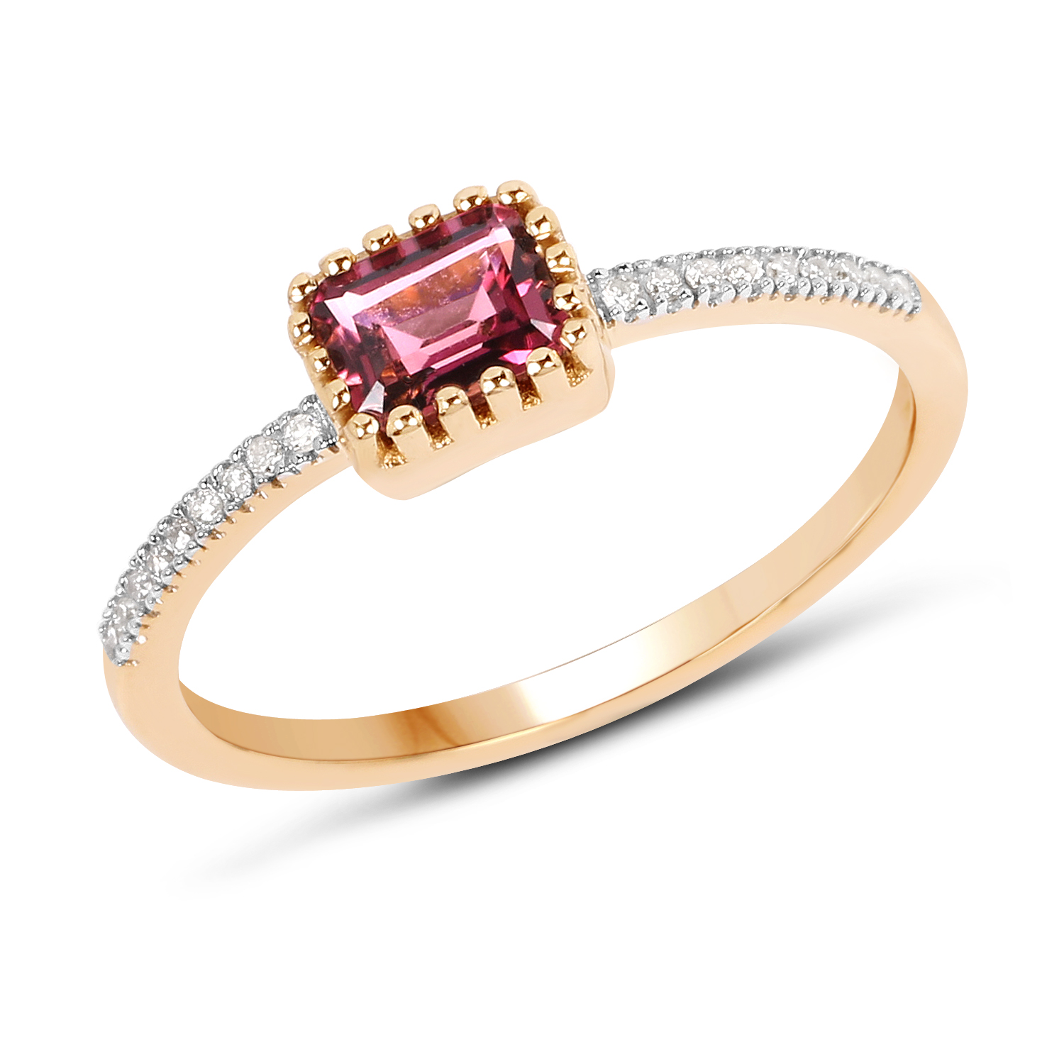 0.65 ct. Genuine Pink Tourmaline and White Diamond 14K Yellow Gold Ring by DAZYLE