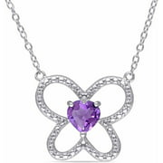 5/8 Carat T.G.W. Amethyst Sterling Silver Flower Heart Necklace, 18