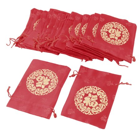 Wedding Supplies Candy Pouch Coin Purse Brocade Gift Bag Red 13 x 10cm 25pcs