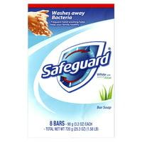 Safeguard Deodorant Bar Soap, White with Aloe 3.2 oz, 8 count