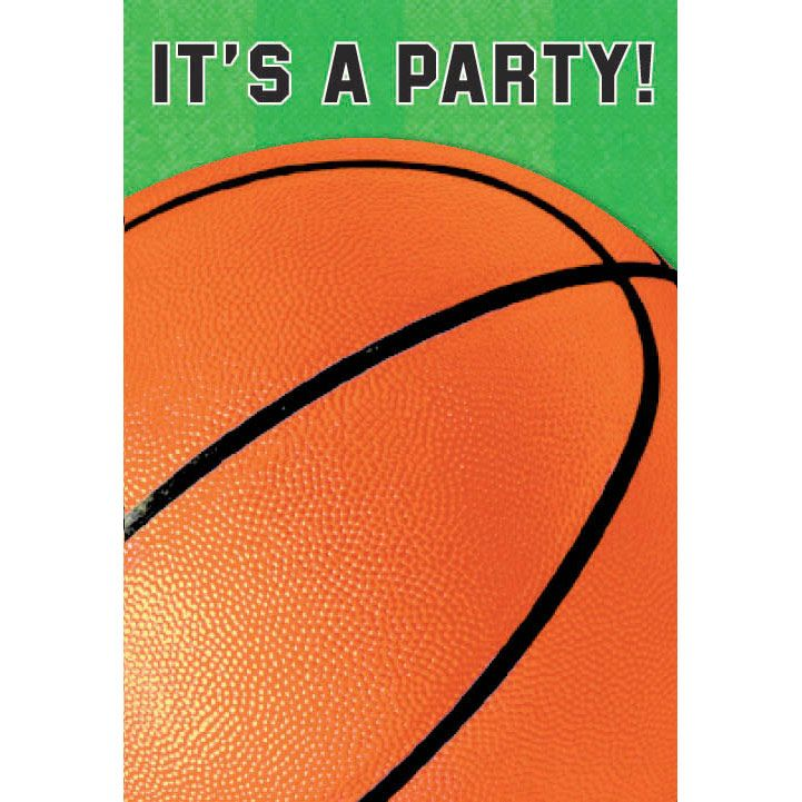Basketball Folded Invitation (6 Pack) - Party Supplies