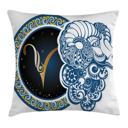 Zodiac Decor Throw Pillow Cushion Cover, Astrological Aries Symbol with Horned Head Ram Goat Terrestrial Event Image, Decorative Square Accent Pillow Case, 18 X 18 Inches, Blue Gold, by Ambesonne