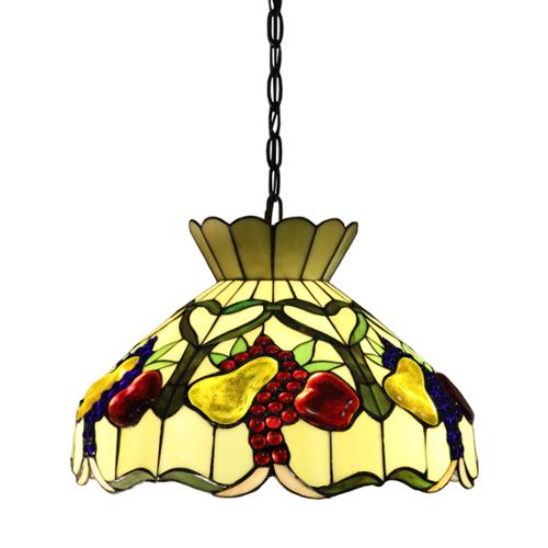 Alliena 2-light Fruit Basket 16-inch Multi-color Tiffany-style Ceiling Lamp by Overstock